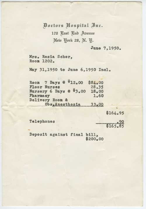 delivery bill from 1950 total $165.85