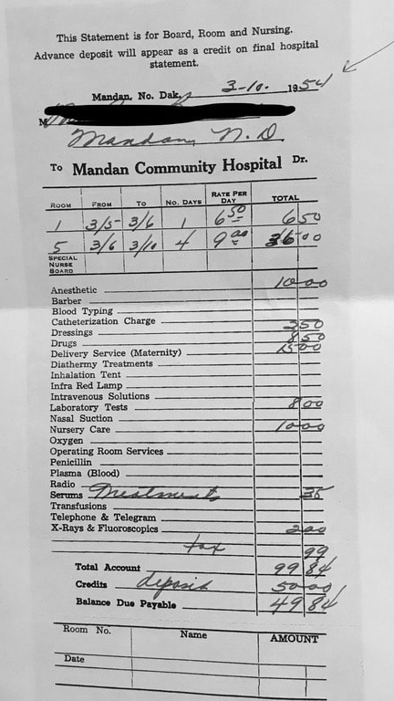 This five-day hospital stay cost nearly $100 in 1954