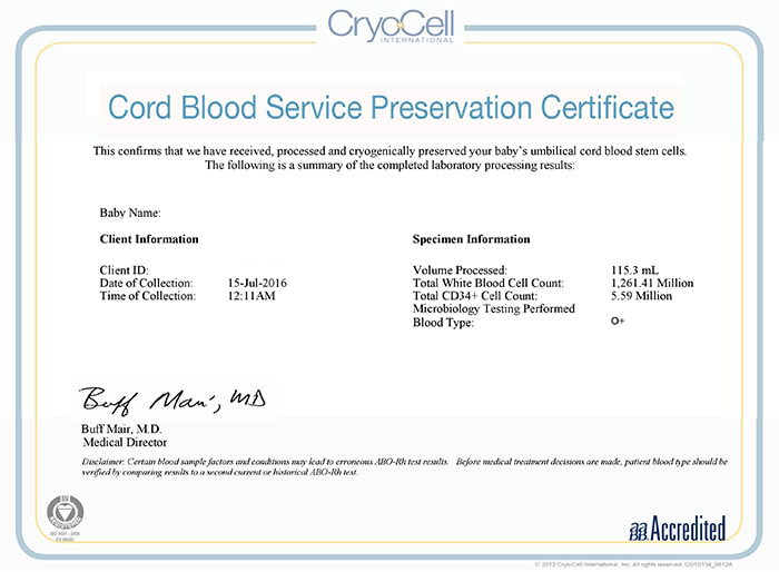 Cryo-Cell Example Cord Blood Certificate