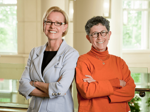Geraldine Dawson, Ph.D., director of the Duke Center for Autism and Brain Development and Joanne Kurtzberg, M.D., director of the Pediatric Blood and Marrow Transplant Program